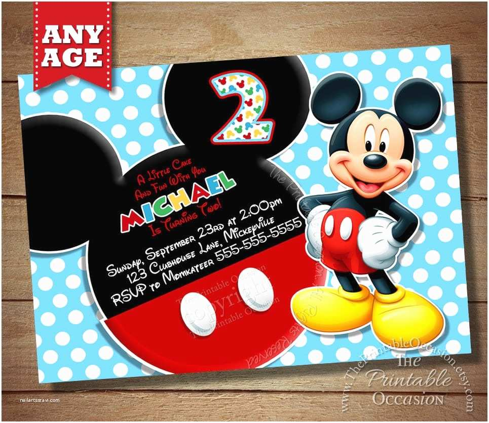 Mickey Mouse Birthday Party Invitations Mickey Birthday Invitation Free