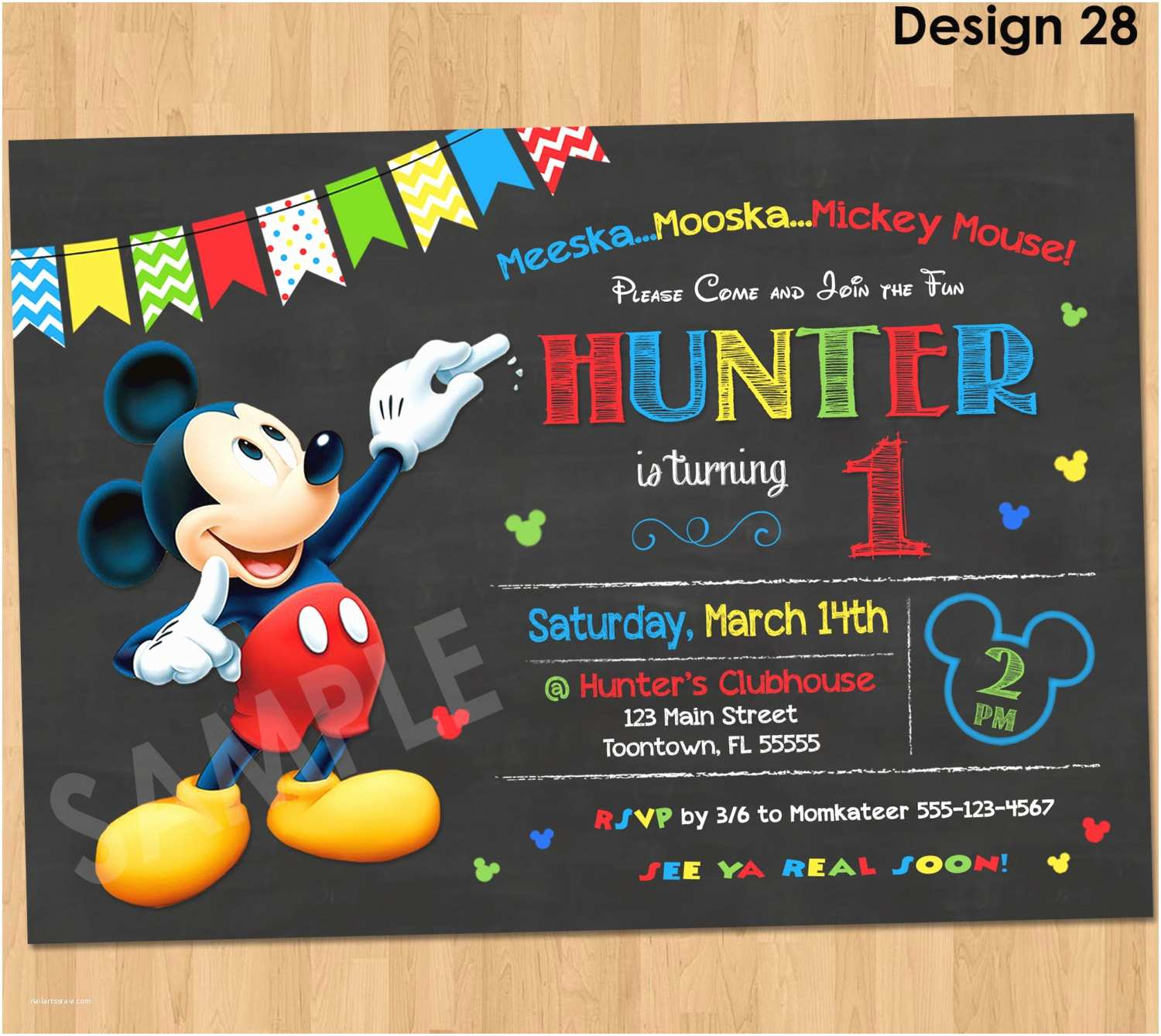 Mickey Mouse Birthday Party Invitations Mickey Mouse Birthday Invitation Mickey Mouse Clubhouse