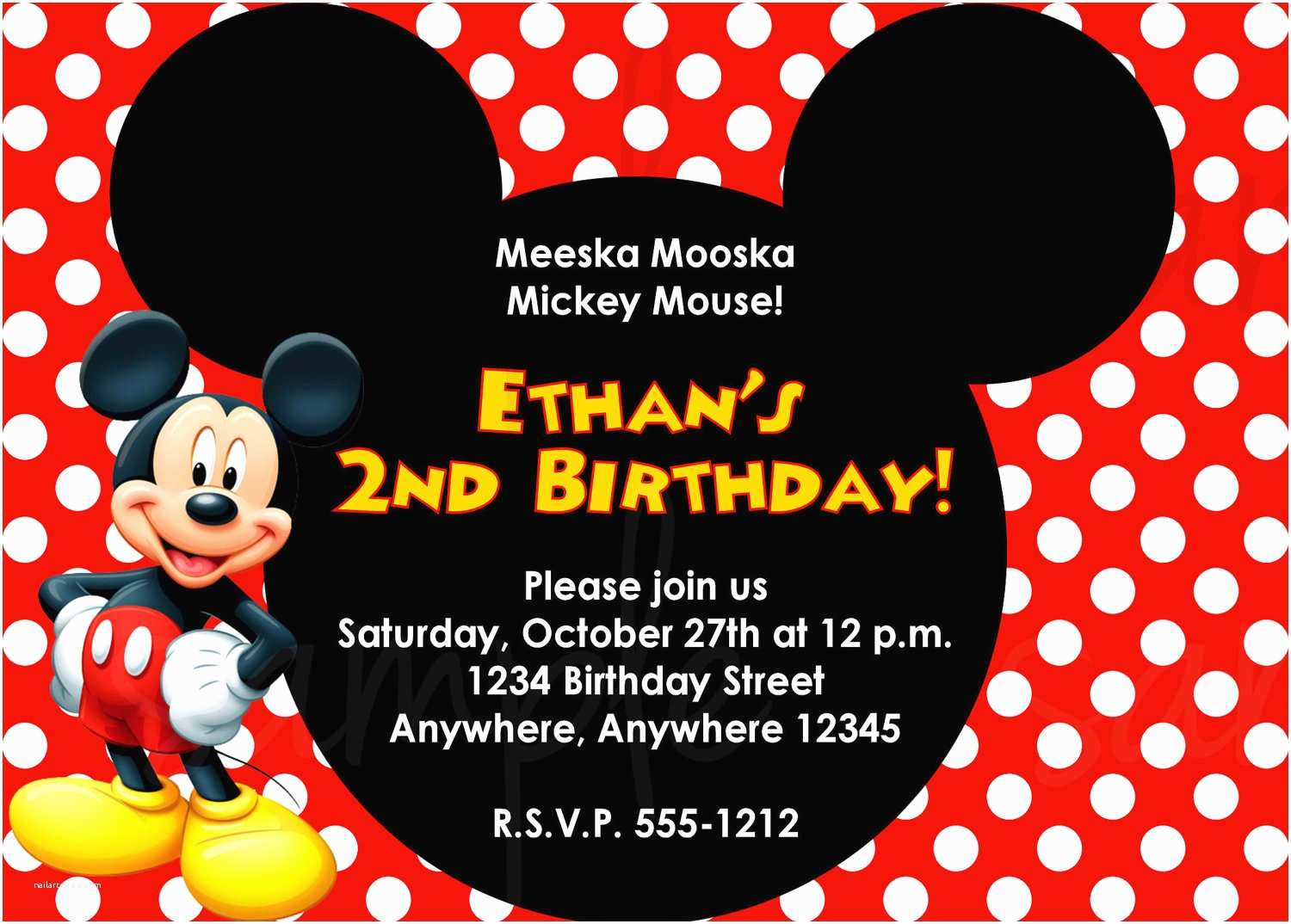 Mickey Mouse Birthday Party Invitations Mickey Mouse Birthday Invitation
