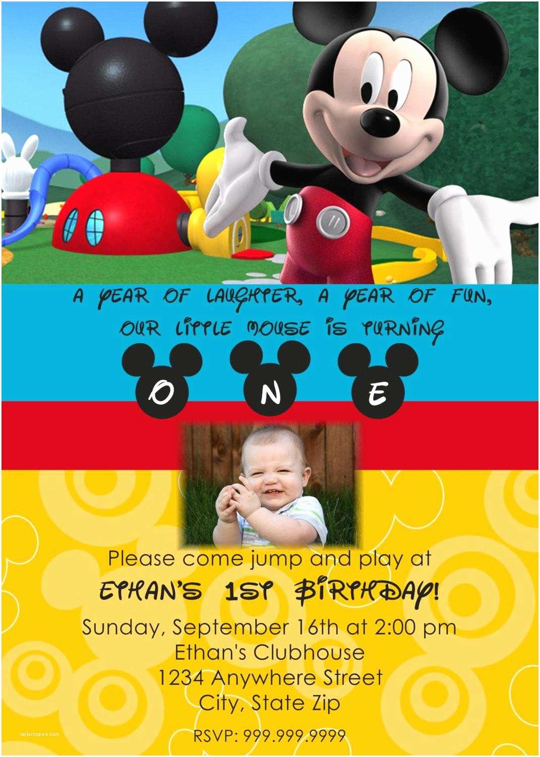 Mickey Mouse Birthday Party Invitations Mickey Mouse Clubhouse Birthday Invitation
