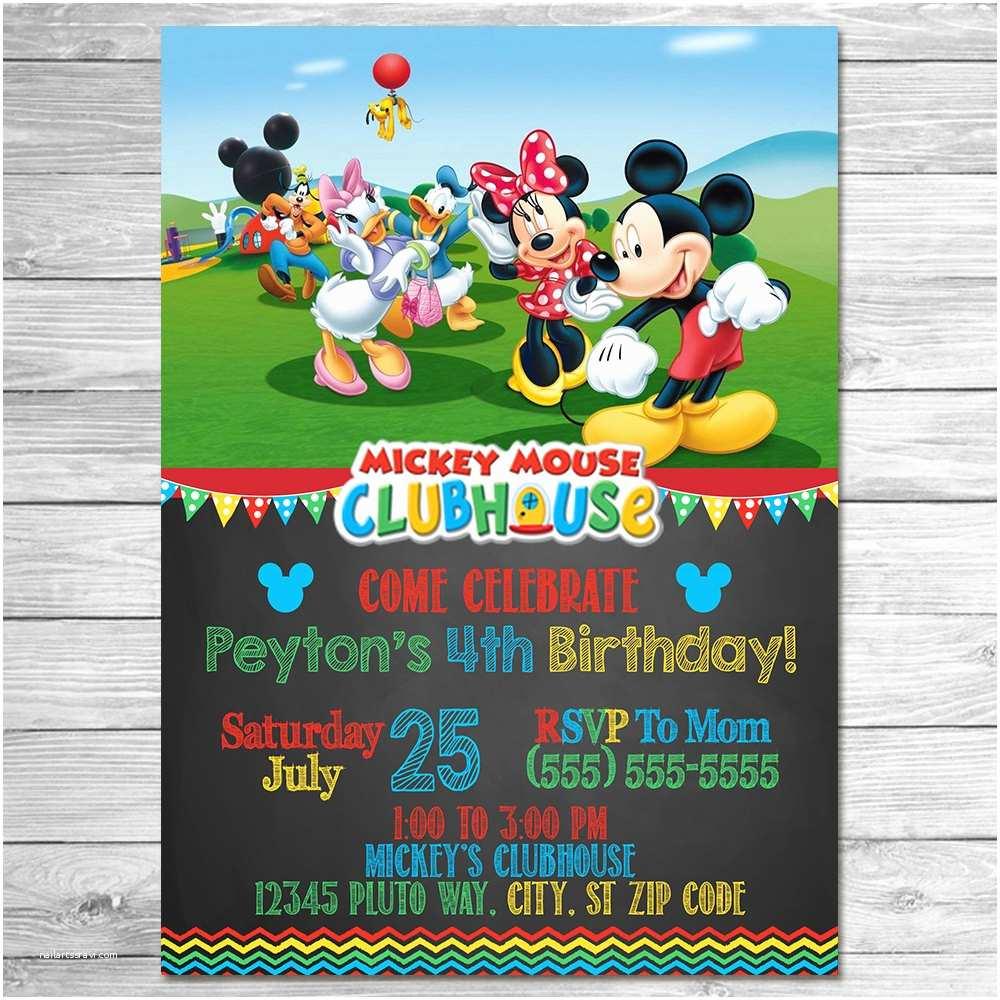 Mickey Mouse Birthday Party Invitations Mickey Mouse Clubhouse Invitation Chalkboard Mickey Mouse