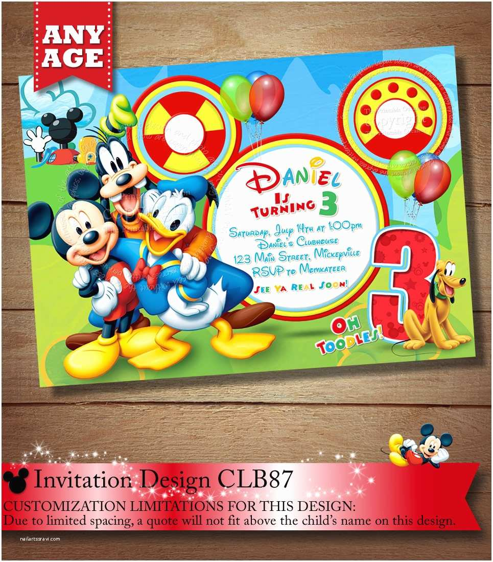 Mickey Mouse Birthday Party Invitations Mickey Mouse Clubhouse Invitation Mickey Invitation Mickey