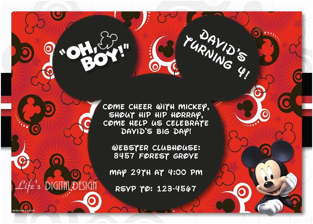 Mickey Mouse Birthday Party Invitations Mickey Mouse Invitation Birthday with Options