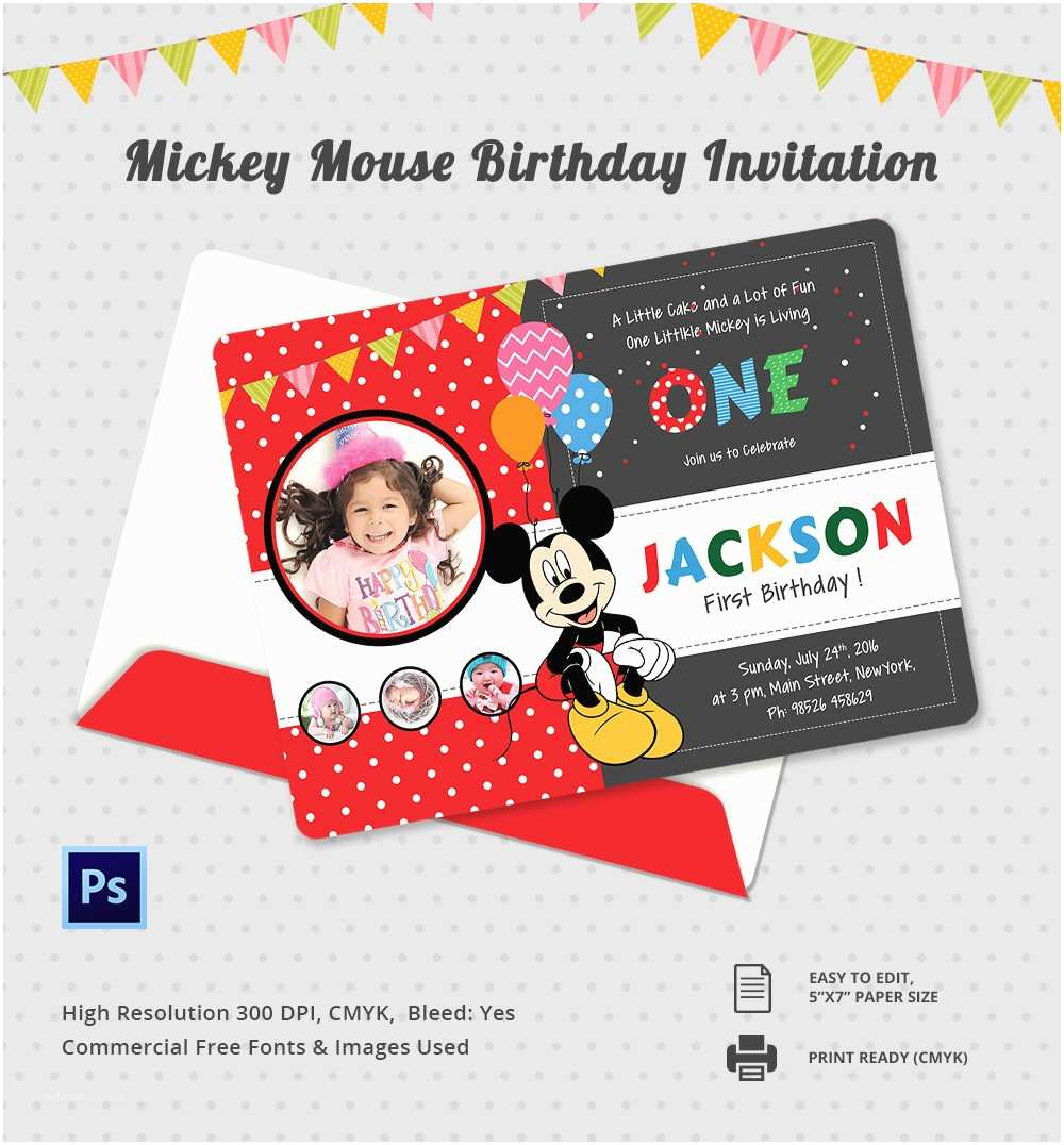 Mickey Mouse Birthday Party Invitations Mickey Mouse Invitation Template – 23 Free Psd Vector