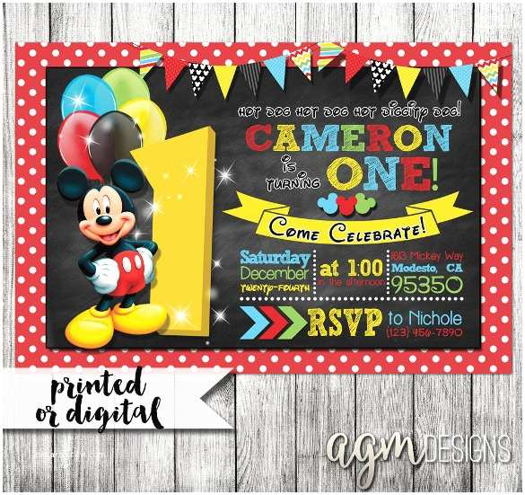 Mickey Mouse Birthday Party Invitations Mickey Mouse Invitation Templates – 29 Free Psd Vector