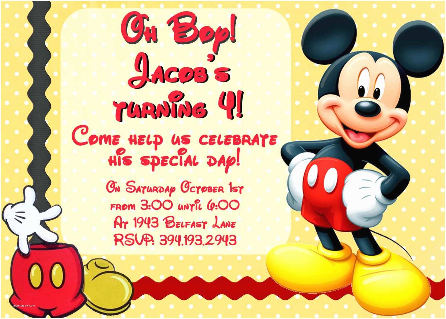 Mickey Mouse Birthday Party Invitations Mickey Mouse Party Invitations