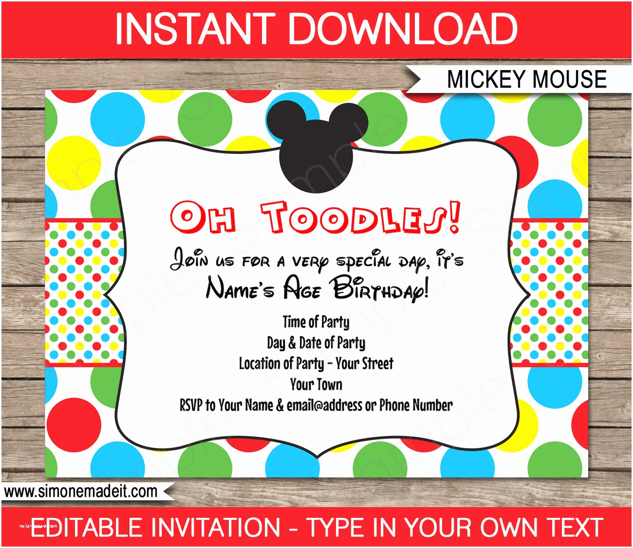 Mickey Mouse Birthday Party Invitations Mickey Mouse Party Invitations Template
