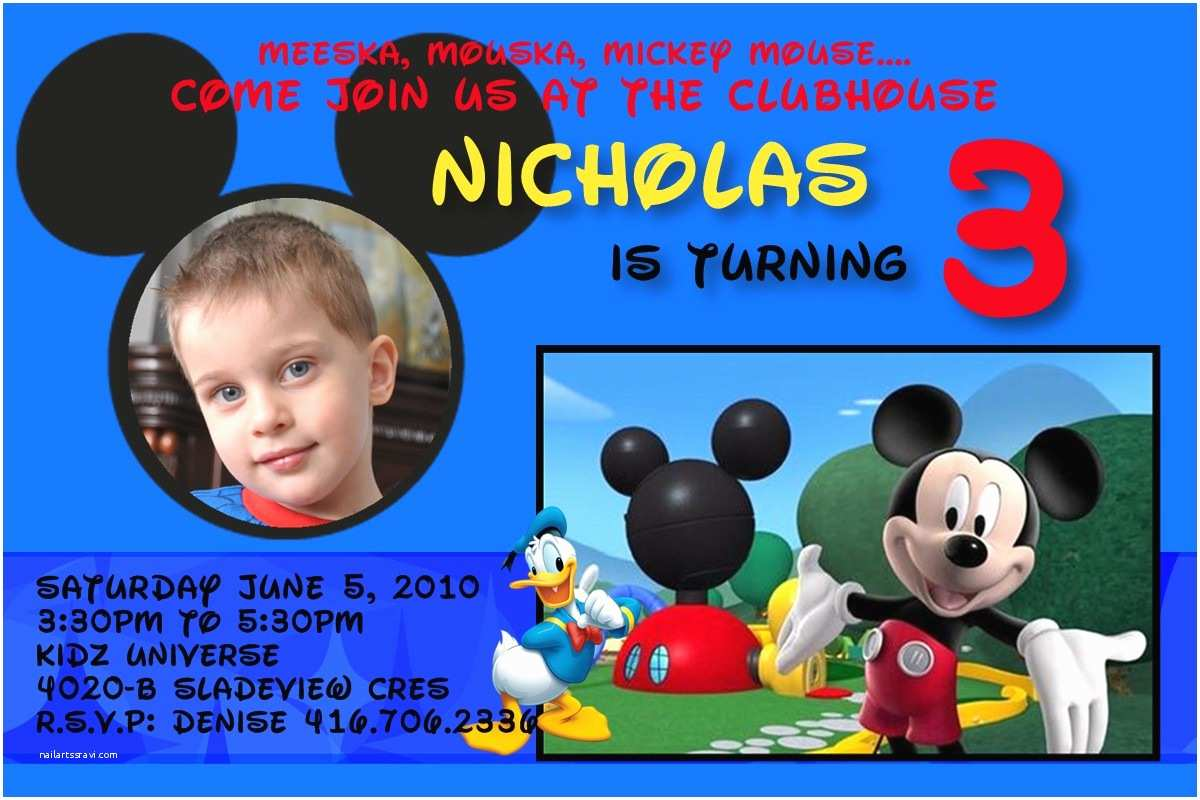 Mickey Mouse Clubhouse Birthday Invitations 3 Year Old Party Invitation Wording