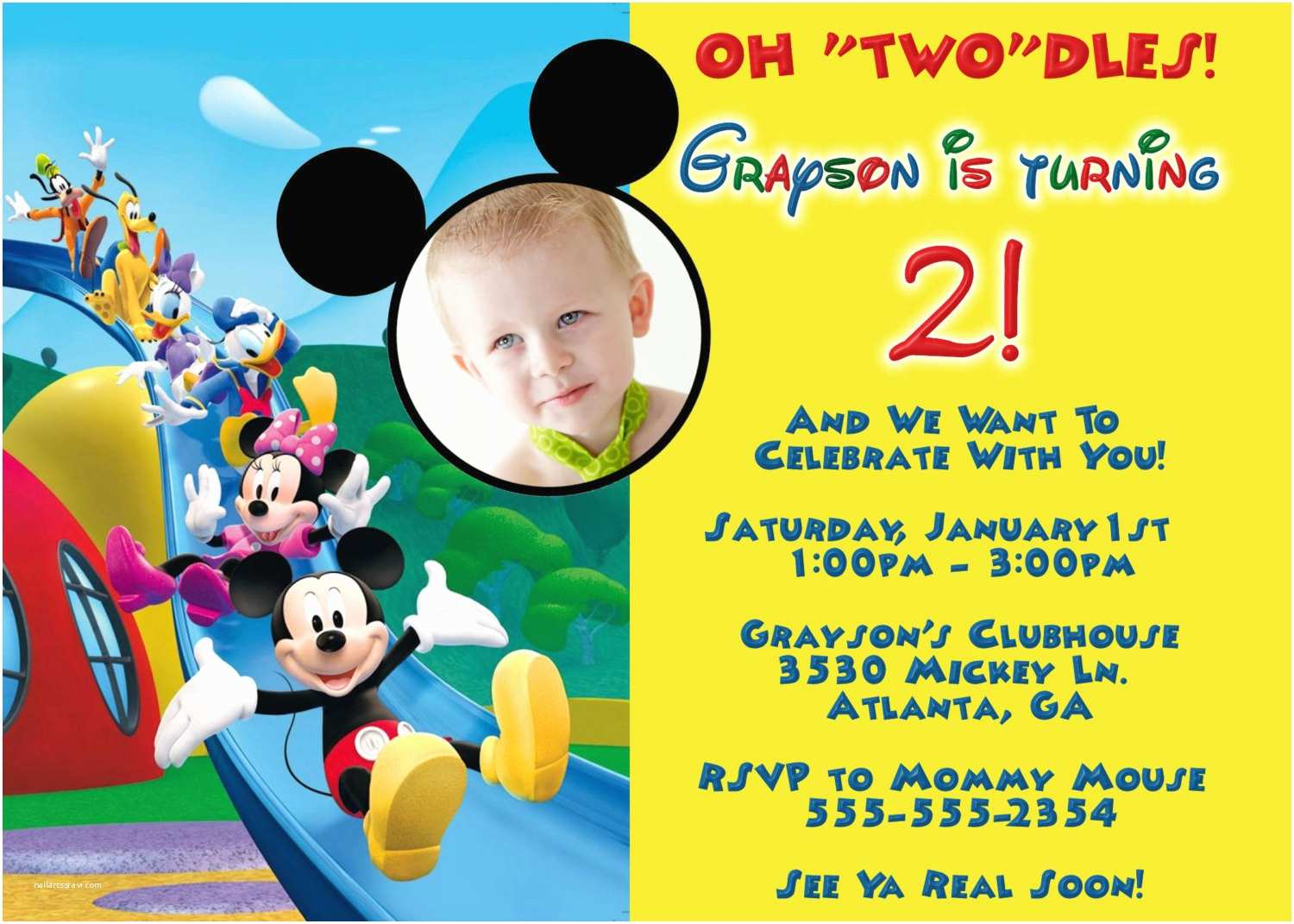 Mickey Mouse Clubhouse Birthday Invitations Mickey Mouse Clubhouse Digital Invitation by Preciouspixel