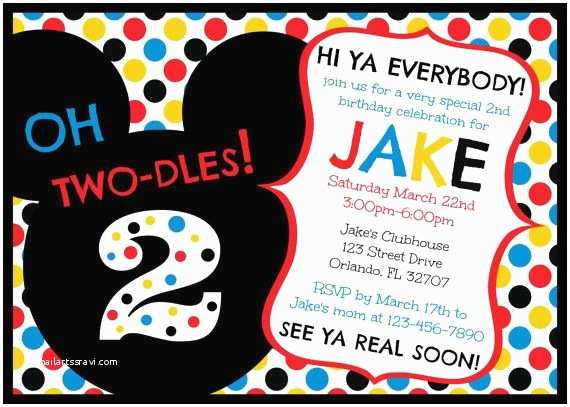 Mickey Mouse Clubhouse Birthday Invitations Mickey Mouse Clubhouse Oh Two Dles 2nd Birthday Invitation