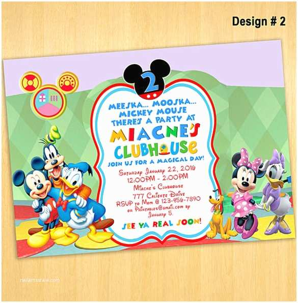 Mickey Mouse Clubhouse Birthday Invitations Mickey Mouse Invitation Template Free Download