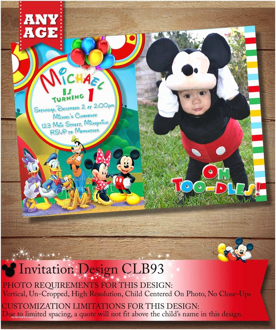 Mickey Mouse Clubhouse Birthday Invitations You Choose Mickey Mouse Birthday Invitation Clubhouse Mickey