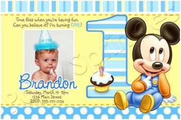 Mickey Mouse First Birthday Invitations Baby Mickey First Birthday