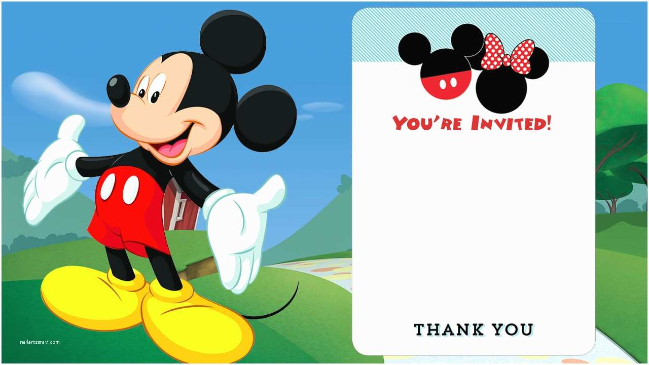 Mickey Mouse First Birthday Invitations Free Disney Printable Birthday Invitations Downloadable