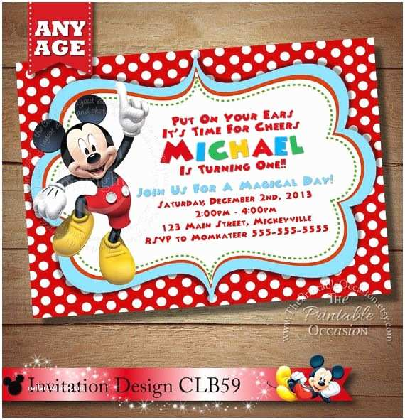 Mickey Mouse First Birthday Invitations Huge Selection Invitation Babys