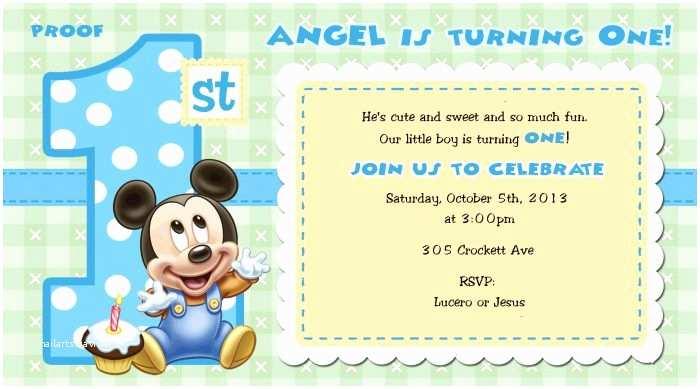 Mickey Mouse First Birthday Invitations Mickey Mouse 1st Birthday Invitations for Girls and Boys