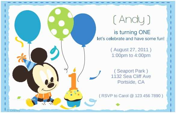 Mickey Mouse First Birthday Invitations 1st