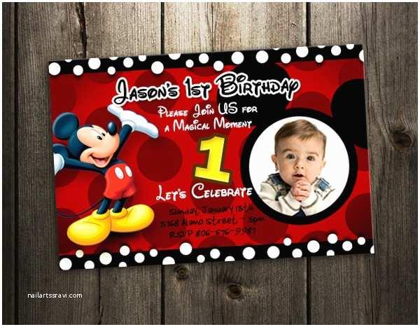 Mickey Mouse First Birthday Invitations Mickey Mouse Birthday Party Invitation 1st Custom First