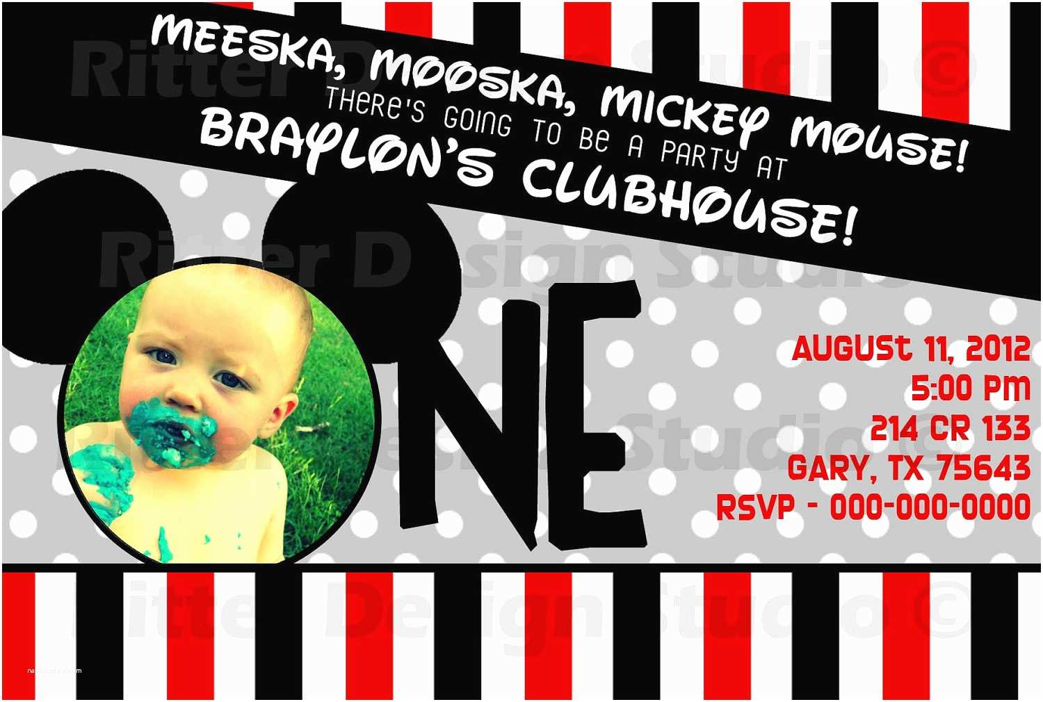 Mickey Mouse First Birthday Invitations Mickey Mouse First Birthday Birthday by Ritterdesignstudio