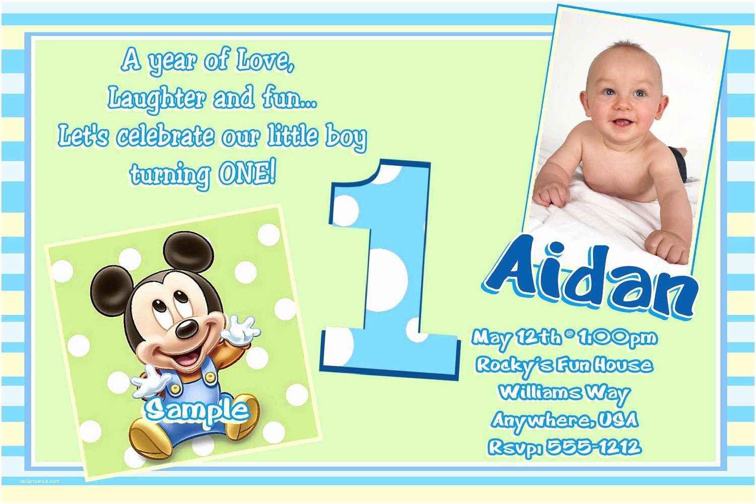 Mickey Mouse First Birthday Invitations Template