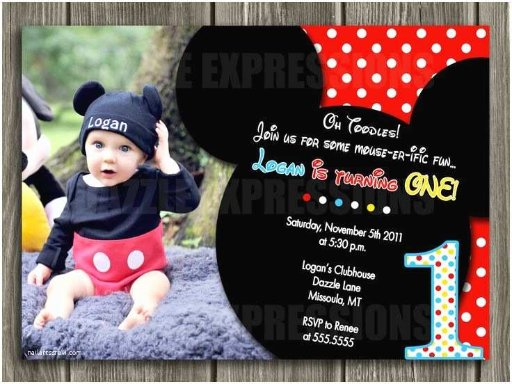 Mickey Mouse First Birthday Invitations Mickey Mouse Inspired Birthday Invitation Free Thank You