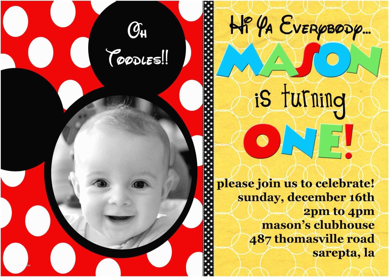 Mickey Mouse First Birthday Invitations Mickey Mouse Invitations Personalized Mickey Mouse