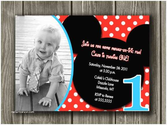 Mickey Mouse First Birthday Invitations Printable Mickey Mouse Birthday Invitation Boy First