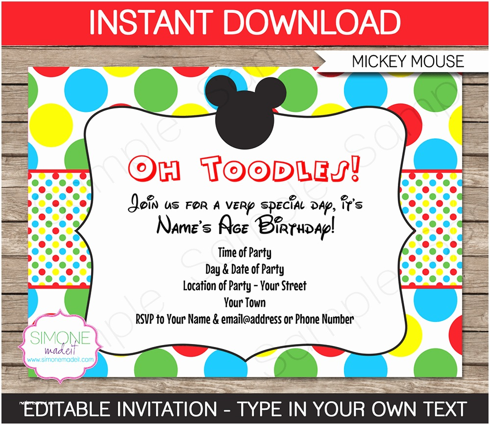 Mickey Mouse Party Invitations 7 Best Of Mickey Mouse Printable Invitations