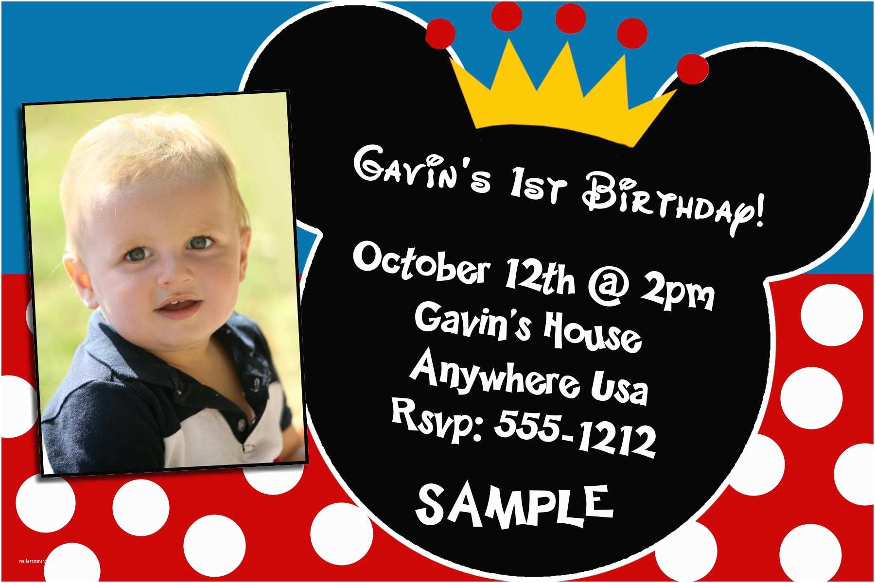 Mickey Mouse Party Invitations Custom Invitations Lewis Collection