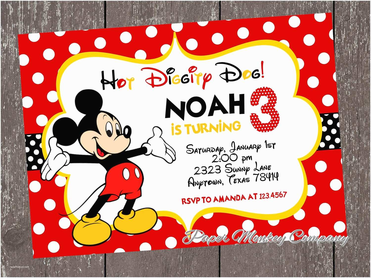 Mickey Mouse Party Invitations Mickey Mouse Birthday Invitations Templates