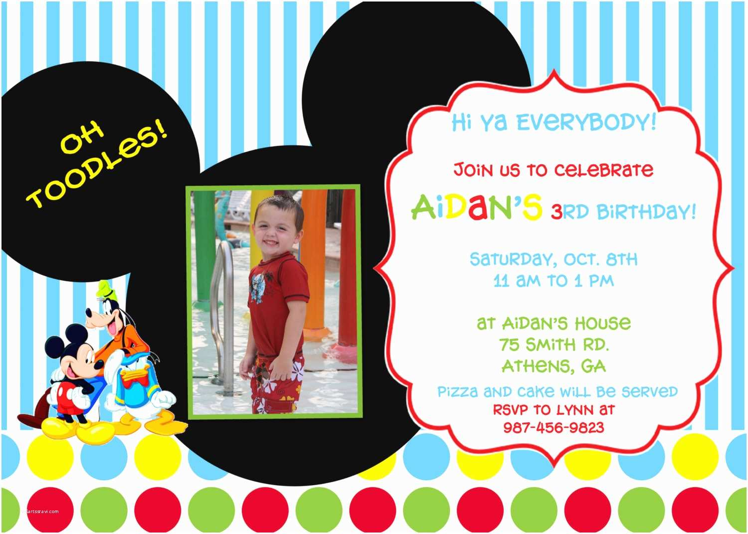 Mickey Mouse Party Invitations Mickey Mouse Clubhouse Birthday Party Invitation