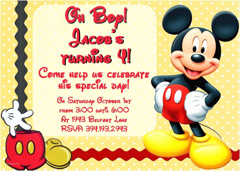 Mickey Mouse Photo Birthday Invitations Create Mickey Mouse Birthday Invitations with Photo
