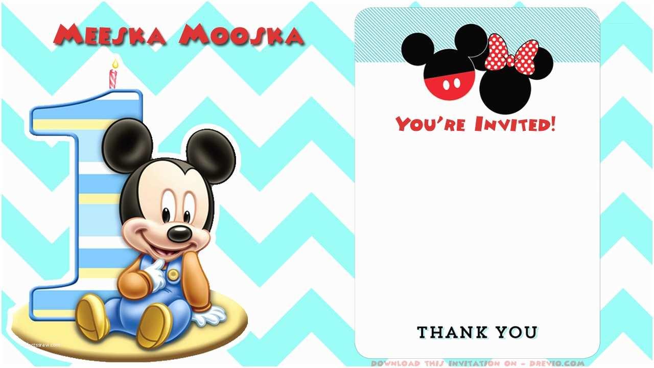 Mickey Mouse Photo Birthday Invitations Free Mickey Mouse Clubhouse Birthday Invitations
