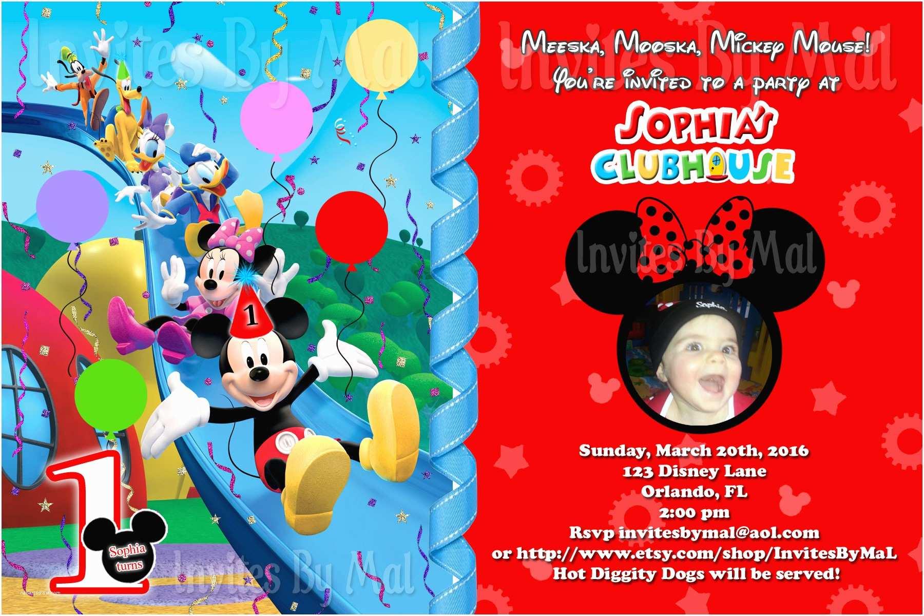 Mickey Mouse Photo Birthday Invitations Free Printable Mickey Mouse 1st Birthday Invitations