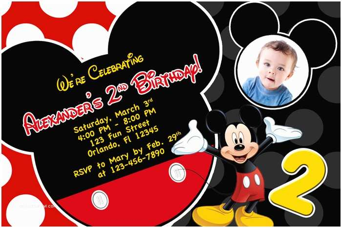 Mickey Mouse Photo Birthday Invitations Mickey Mouse 1st Birthday Invitations Ideas – Bagvania