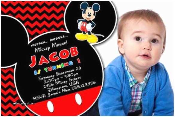 Mickey Mouse Photo Birthday Invitations Mickey Mouse Birthday Invitation Template – 15 Free Psd