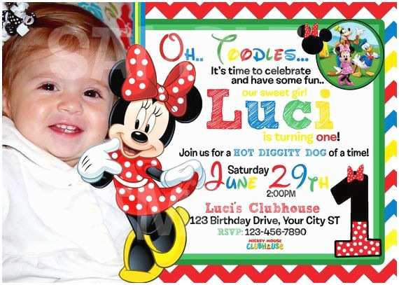Mickey Mouse Photo Birthday Invitations Mickey Mouse Clubhouse Birthday Invitation by