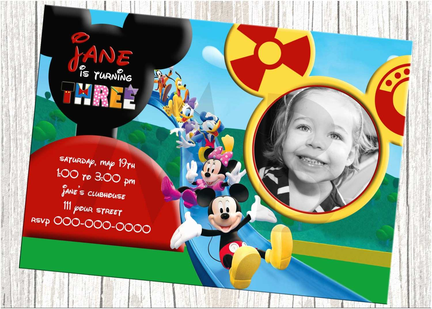 Mickey Mouse Photo Birthday Invitations Mickey Mouse Clubhouse Character Birthday by
