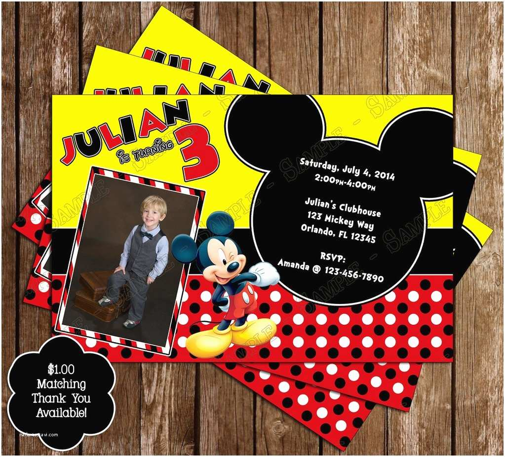 Mickey Mouse Photo Birthday Invitations Novel Concept Designs Disney Mickey Mouse Yellow