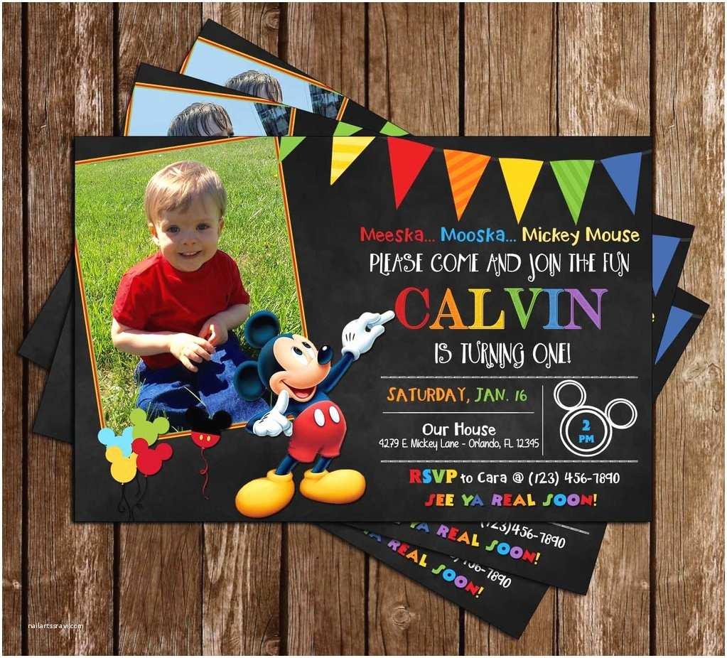 Mickey Mouse Photo Birthday Invitations Novel Concept Designs Mickey Mouse Chalkboard Birthday