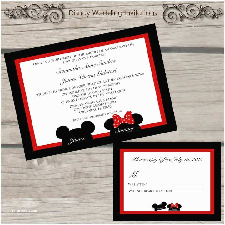 Mickey Mouse Wedding Invitations Mickey and Minnie Mouse Wedding Invitations