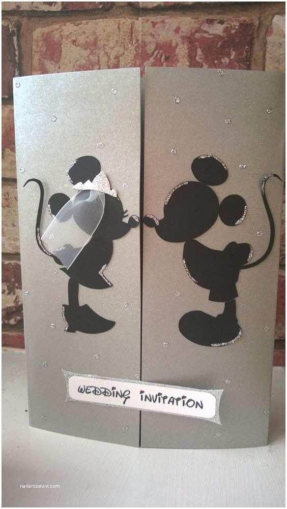 Mickey Mouse Wedding Invitations Minnie & Mickey Mouse Wedding Card Invitation by