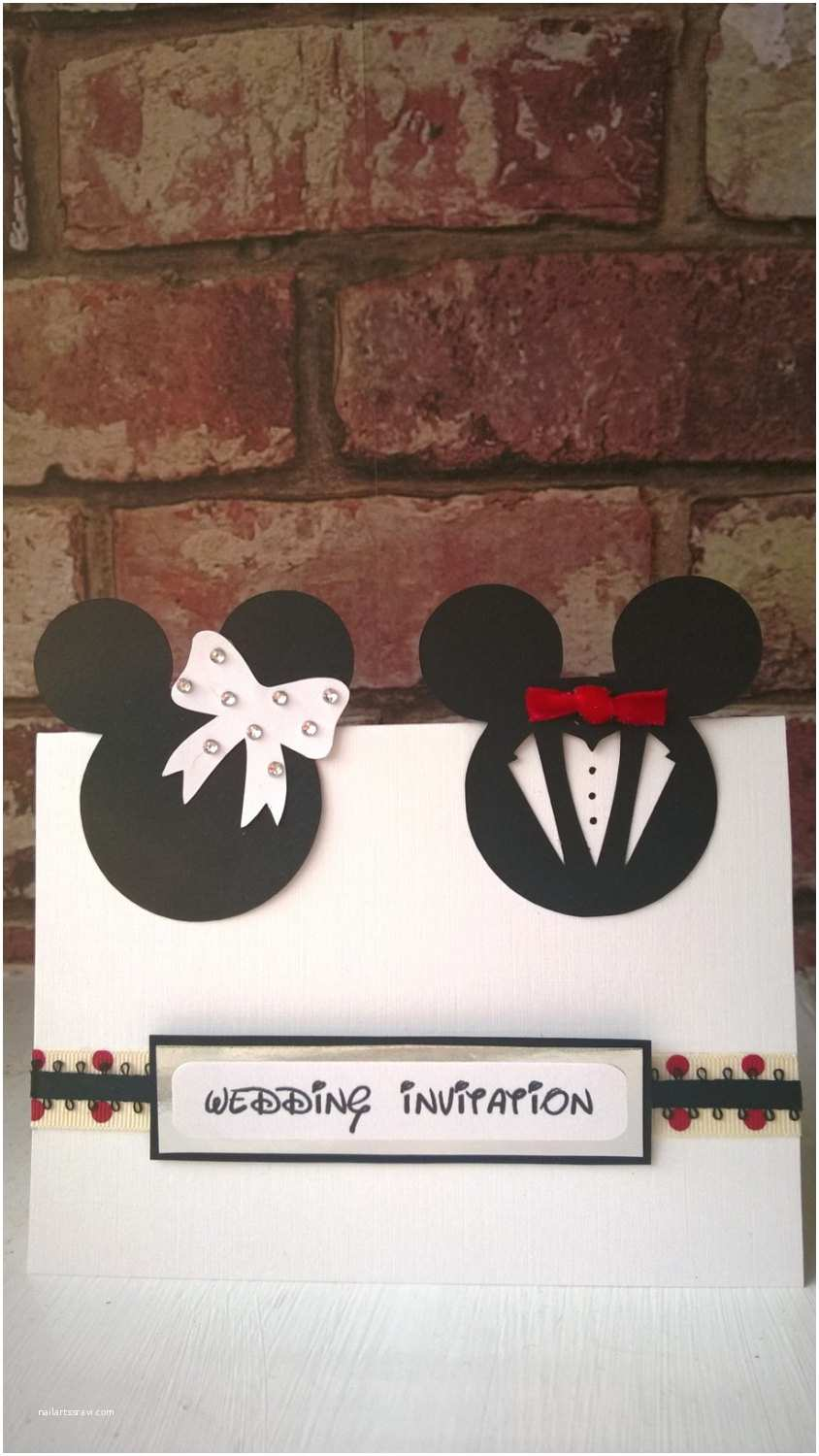 Mickey Mouse Wedding Invitations Minnie & Mickey Mouse Wedding Card or Invites