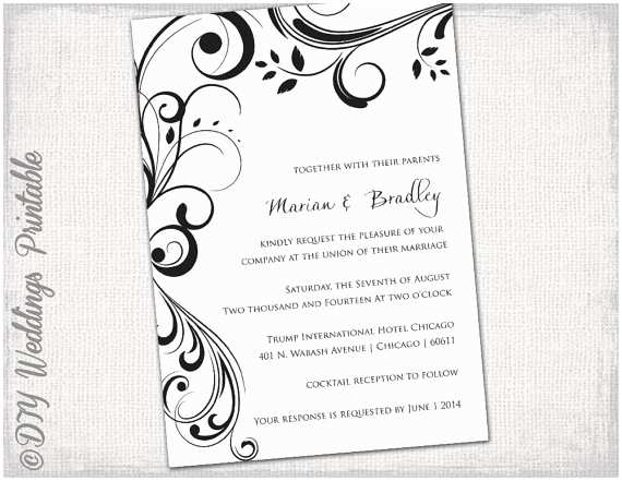 "Microsoft Word Wedding Invitation Templates Wedding Invitation Templates Black and White ""scroll"