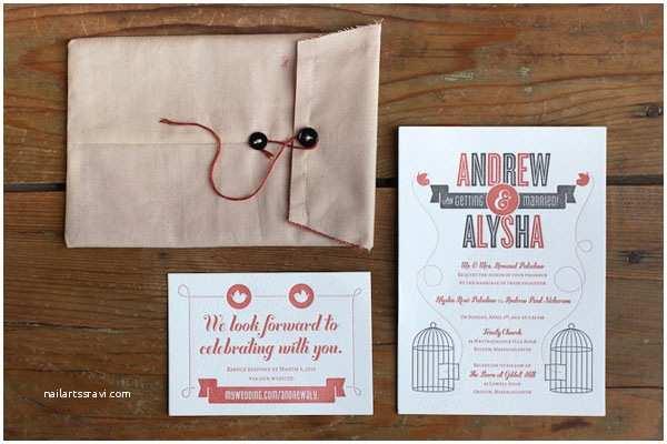 Mid Century Wedding Invitations andrew Alysha S Mid Century Modern Birdcage Invitations