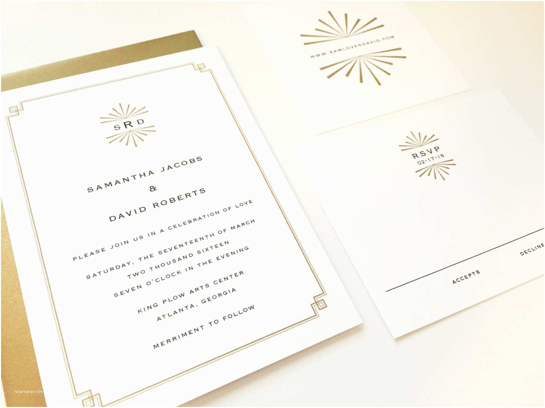 Mid Century Wedding Invitations Art Deco Wedding Invitation Mid Century Custom by Dhfitzgerald