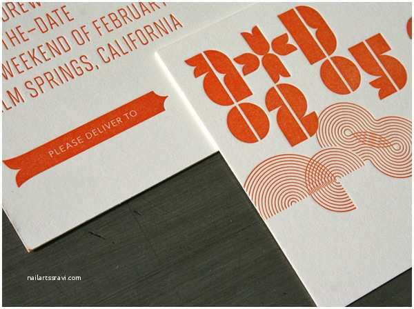 Mid Century Wedding Invitations Mid Century Modern Typographic Wedding Invitations