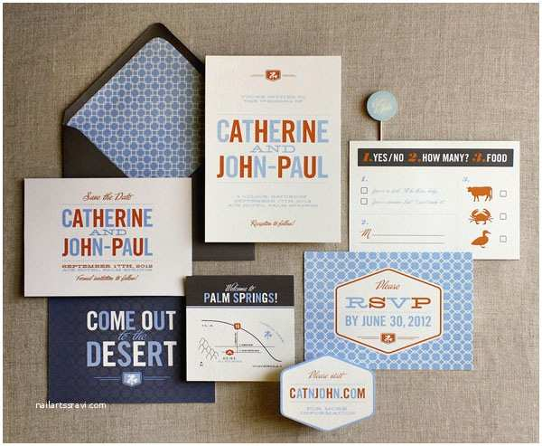 Mid Century Wedding Invitations Mid Century Modern Wedding Invitations by Bow & Arrow