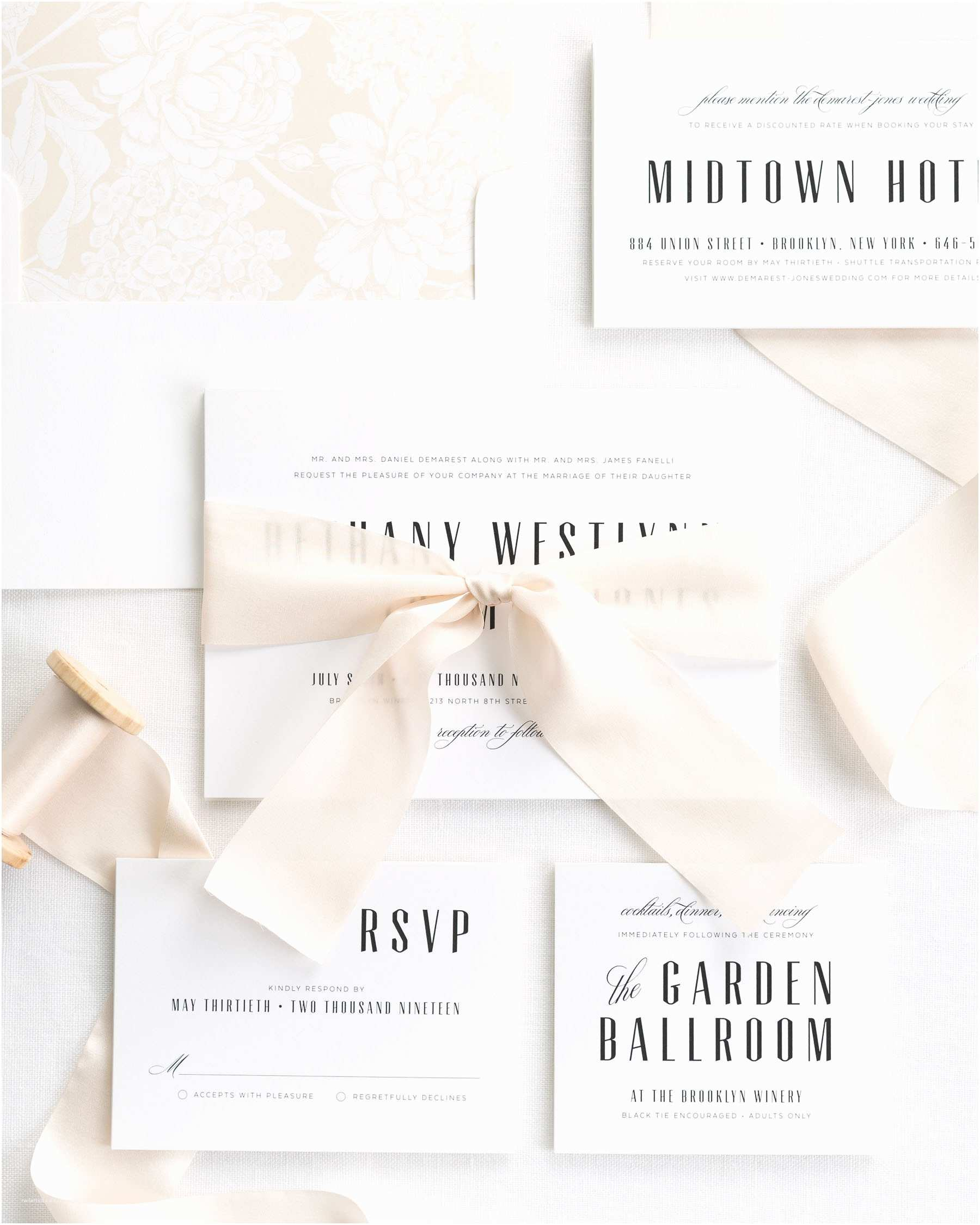 Mid Century Wedding Invitations Mid Century Romance Ribbon Wedding Invitations Ribbon