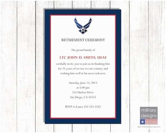 Military Retirement Invitations Air force Retirement Ceremony Invitation Printable Us Air